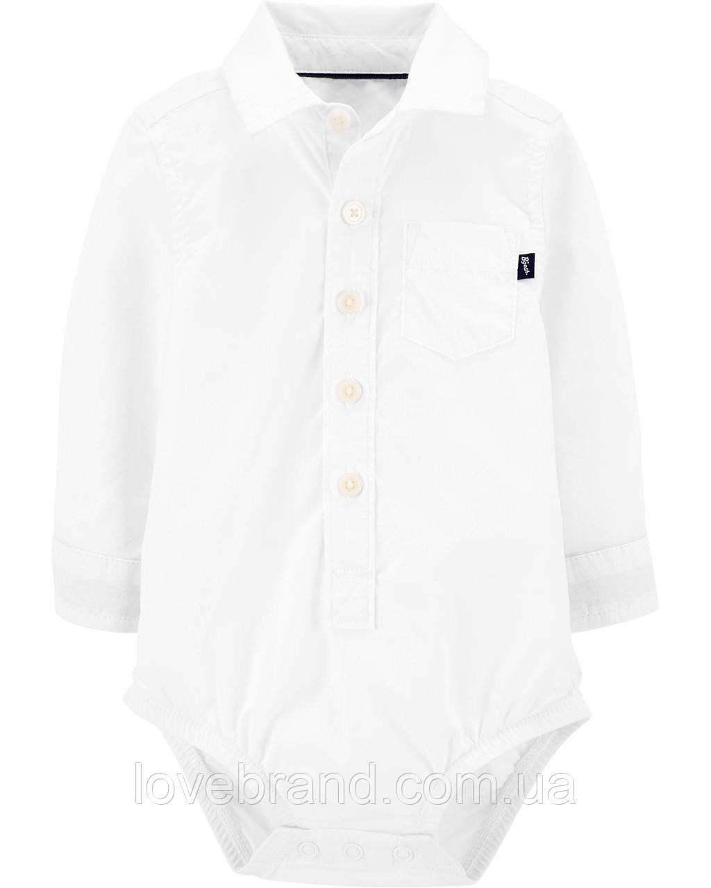 Белая рубашка боди OshKosh для мальчика, нарядная рубашка для малыша