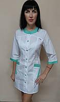 Медицинский женский халат Фантазия хлопок три четверти рукав, фото 1