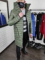 Пальто мужское демисезонное весеннее осеннее до 0*С хаки | Куртка мужская удлиненная ЛЮКС качества