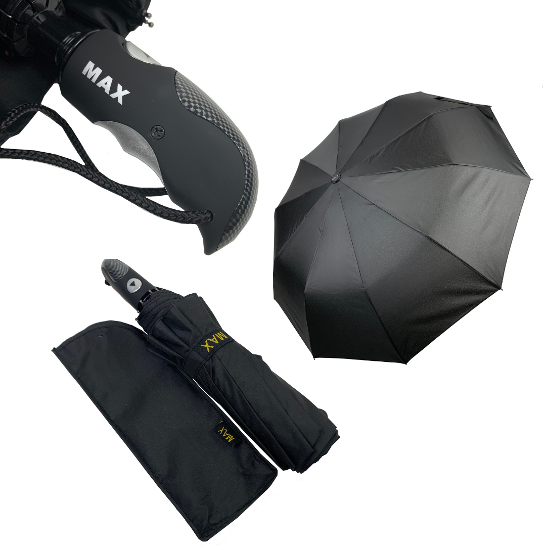 """Зонт чоловічий складной-напівавтомат на 10 спиць з системою """"антиветер"""" від Max, чорний, 261-1"""