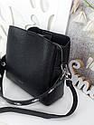 Жіноча чорна сумка, крокко екошкіра, фото 4