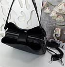 Жіноча чорна сумка, крокко екошкіра, фото 9