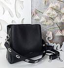 Жіноча чорна сумка, крокко екошкіра, фото 5