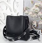 Жіноча чорна сумка, крокко екошкіра, фото 6