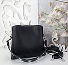 Жіноча чорна сумка, крокко екошкіра, фото 7