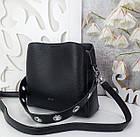 Жіноча чорна сумка, крокко екошкіра, фото 2