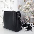 Жіноча чорна сумка, крокко екошкіра, фото 3