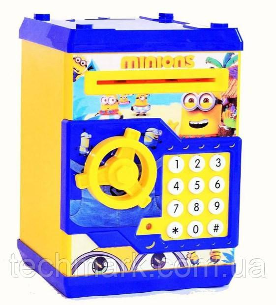 Копилка детский сейф с кодовым замком и купюроприемником для бумажных денег и монет.