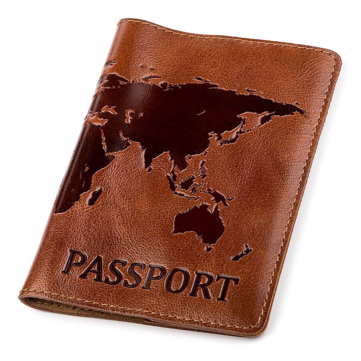 Обкладинка на паспорт Shvigel 13919 Коричнева шкіряна