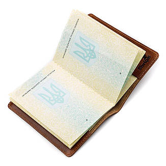 Обкладинка на паспорт Shvigel 13919 Коричнева шкіряна, фото 2