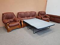 Кожаный гарнитур кожаная мебель шкіряний комплект мяка частина диван та два крісла раскладной диван