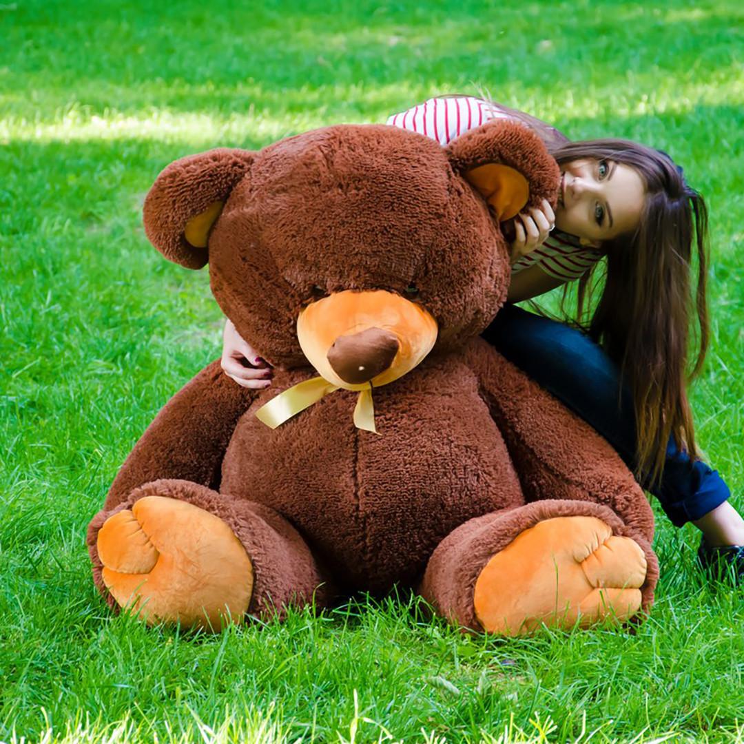 Плюшевые медведи: Плюшевый медвежонок Томми 1,5 метра (150 см), Шоколадный