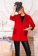 Короткое женское демисезонное пальто из кашемира красного цвета, фото 1