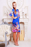 Яркое платье миди в цветы Лоя-1, фото 1