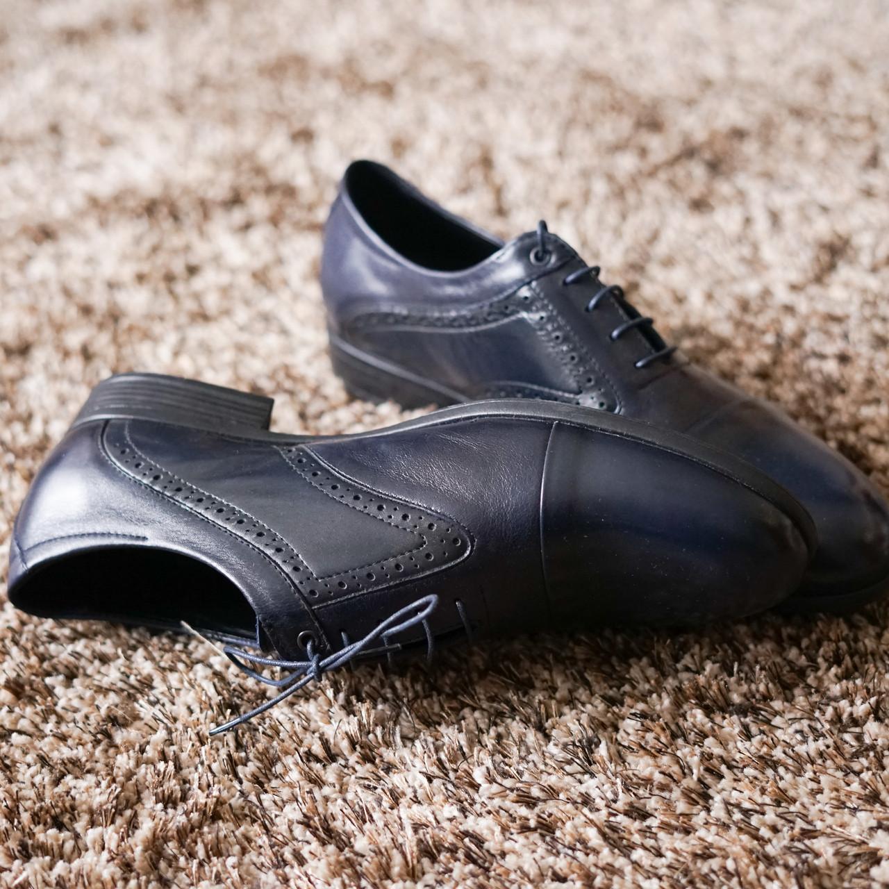 Туфли броги ІКОС 57  синие туфлі Ikos