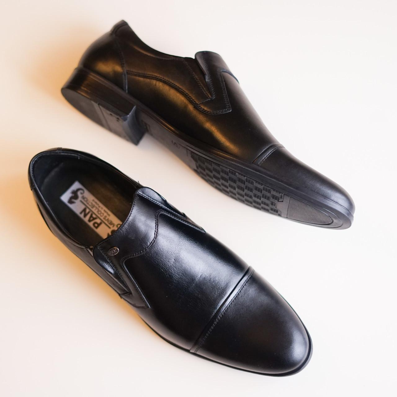 Чорні шкіряні туфлі Pan 304