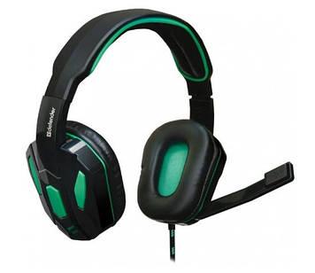 Навушники Defender Warhead G-275 2,5м green/black+мікрофон