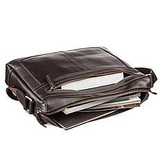 Деловая мужская сумка из гладкой кожи на плечо SHVIGEL 11251 Коричневая, фото 3