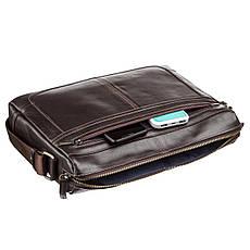 Деловая мужская сумка из гладкой кожи на плечо SHVIGEL 11251 Коричневая, фото 2