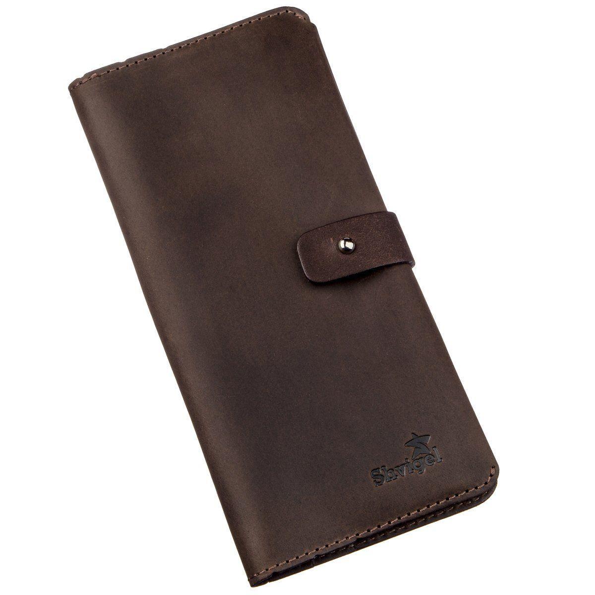 Бумажник мужской из винтажной кожи SHVIGEL 16207 Темно-коричневый