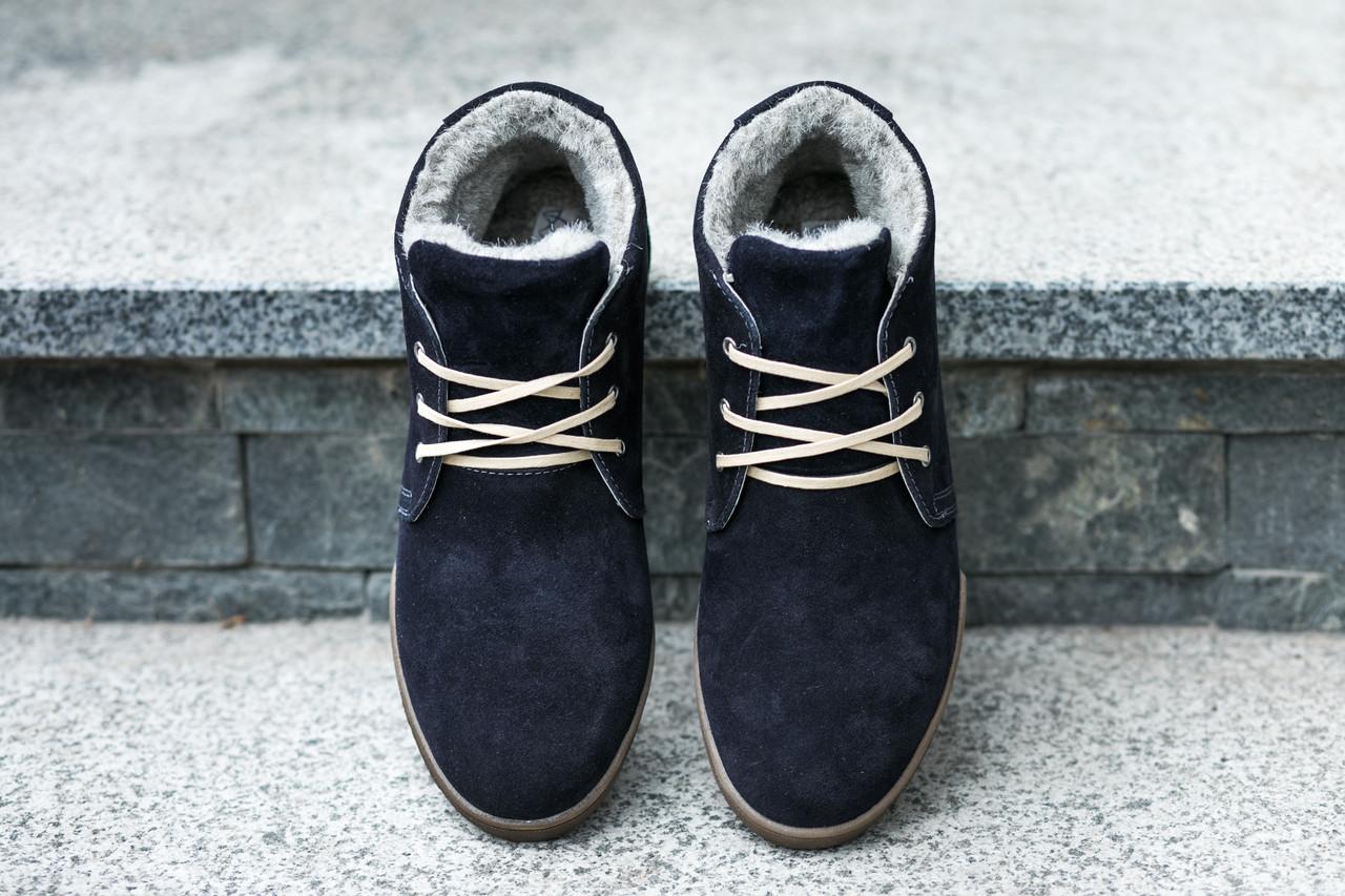 Крутые теплые ботинки с синей замши Affiniyi z 4