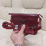 Молодежная стильная женская сумочка из натуральной кожи Red, фото 2