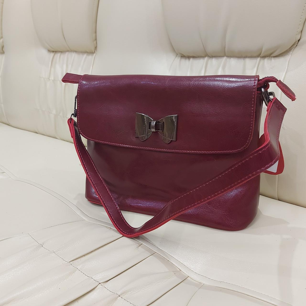 Молодежная стильная женская сумочка из натуральной кожи Red