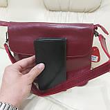 Молодежная стильная женская сумочка из натуральной кожи Red, фото 3