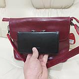 Молодежная стильная женская сумочка из натуральной кожи Red, фото 7
