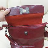 Молодежная стильная женская сумочка из натуральной кожи Red, фото 8