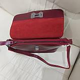 Молодежная стильная женская сумочка из натуральной кожи Red, фото 6