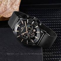 Часы оригинальные мужские наручные кварцевые Megalith 8089 Black-Cuprum / часы оригиналы черные, фото 3