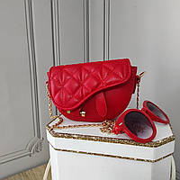 Мини кросс боди, красная сумка седло, Dior, фото 1