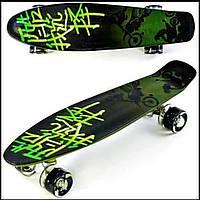 АоДетский скейт пенниборд с рисунком и светящимися бесшумными колёсами, Best Board F 9160