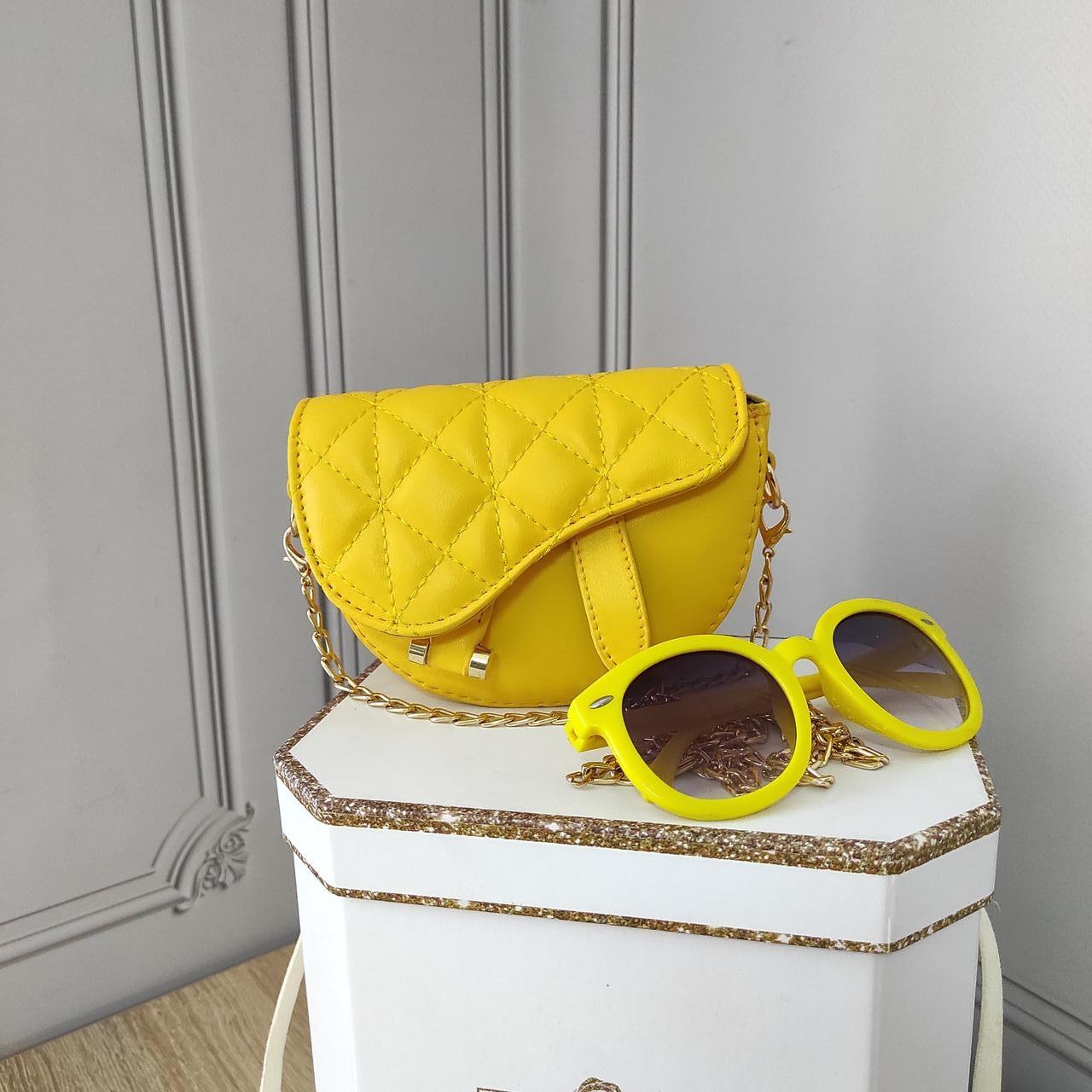 Мини кросс боди, желтая сумка седло, Dior