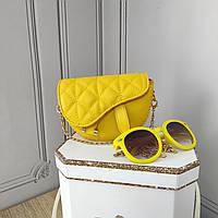 Мини кросс боди, желтая сумка седло, Dior, фото 1