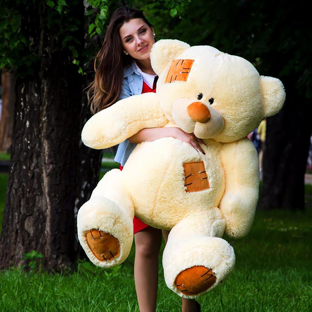 Плюшевые медведи: Плюшевый медвежонок Потап 1,5 метра (150 см), Персиковый