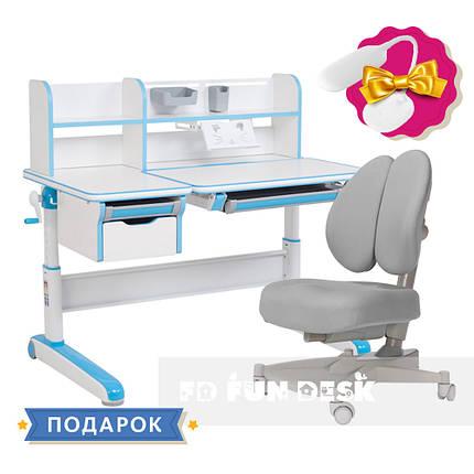 Комплект для мальчика стол-трансформер Libro Blue+ортопедическое кресло FunDesk Contento Grey, фото 2