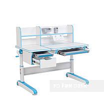 Комплект для мальчика стол-трансформер Libro Blue+ортопедическое кресло FunDesk Contento Grey, фото 3