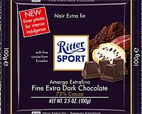 Экстра черный шоколад Ritter Sport 100г.