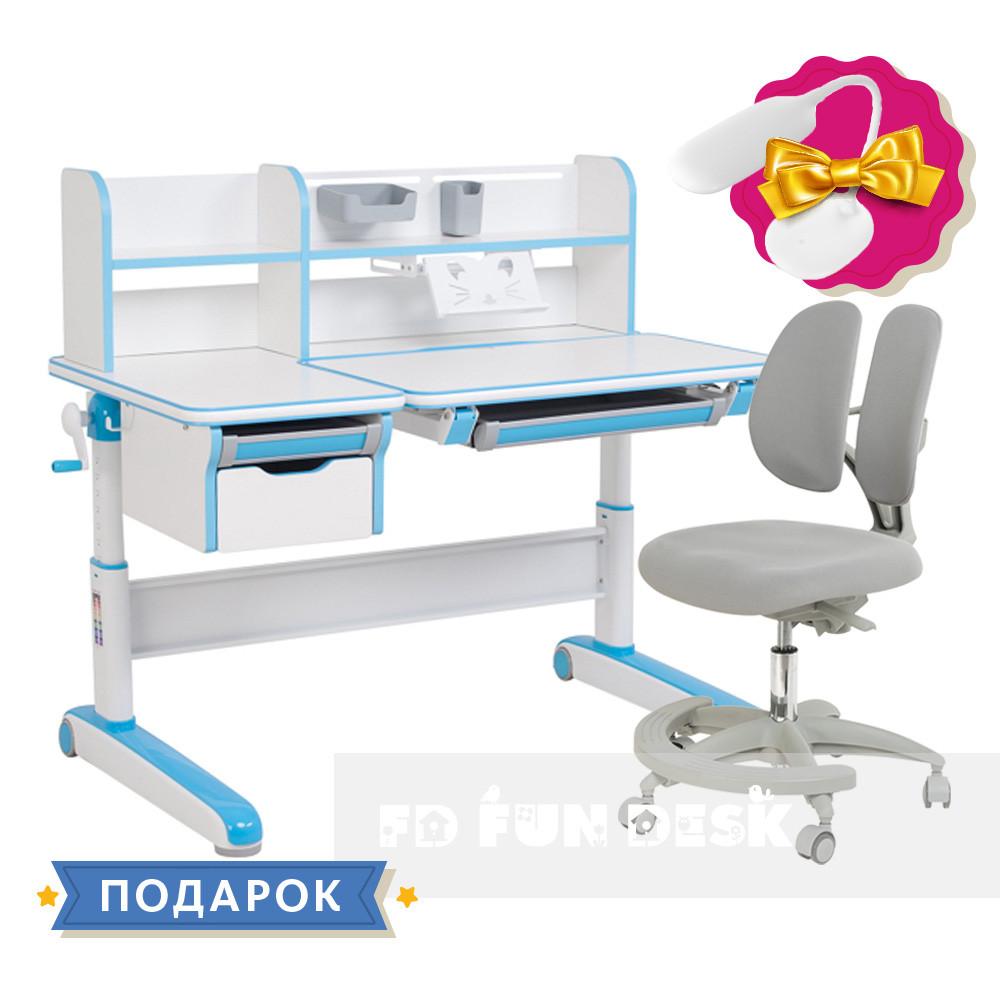 Комплект для мальчика стол-трансформер FunDesk Libro Blue + подростковое кресло FunDesk Primo Grey