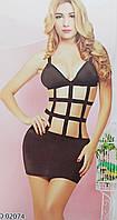 Эротическое платье стрейч 42-44 черный с бежевым (02074)
