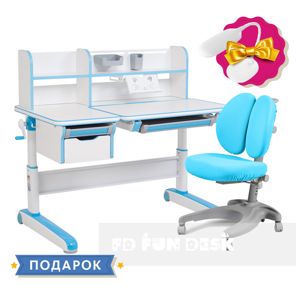 Комплект для мальчика👦 стол-трансформер FunDesk Libro Blue+эргономичное кресло FunDesk Solerte Blue