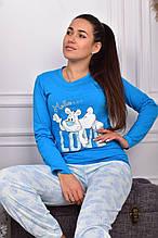 Піжама жіноча блакитна кофта та штани код П223