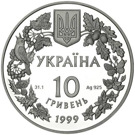 Любка дволиста срібна монета 10 гривень унція срібла 31,1 грам, фото 2