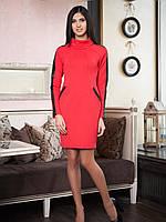 Красивое красное платье на зиму из плотной ткани, фото 1