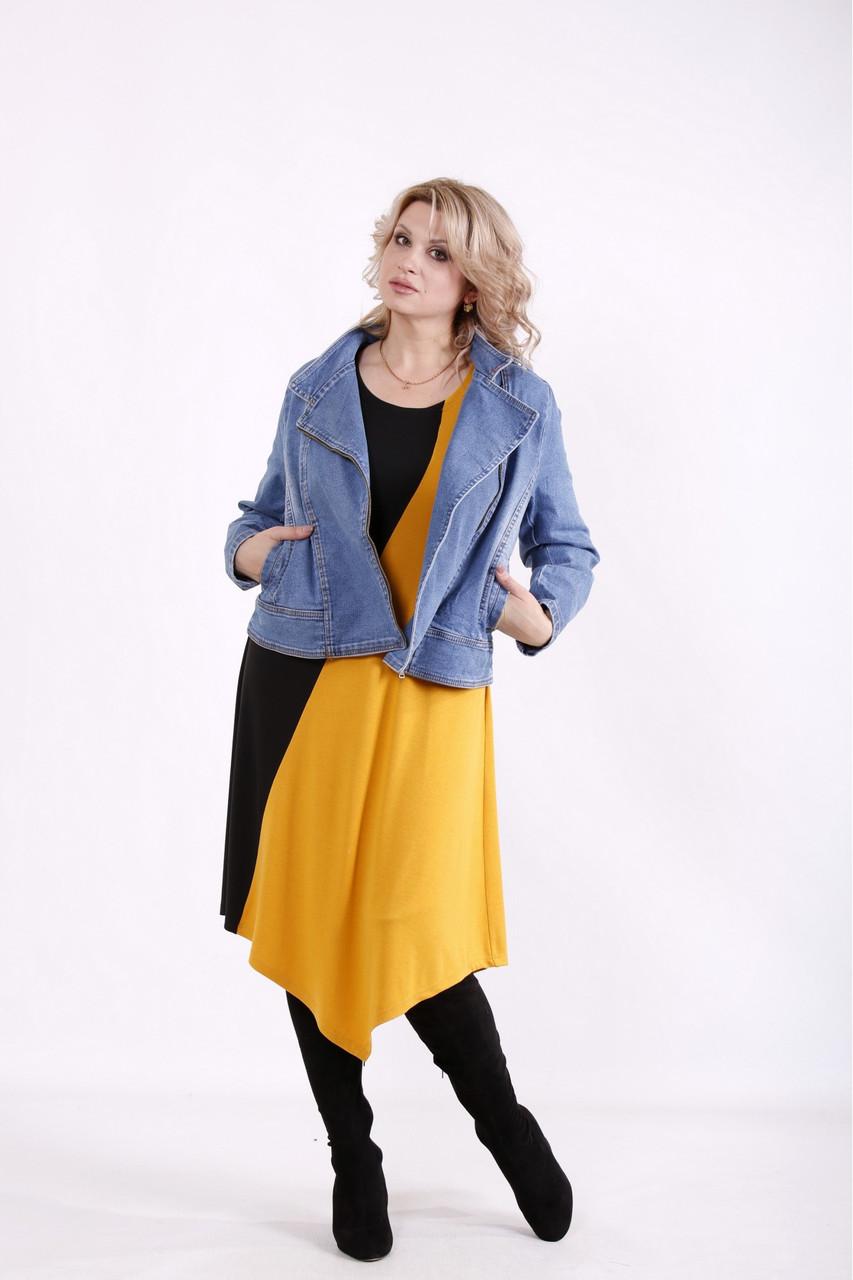 Джинсовая куртка женская укороченная стильная большого размера 42-74. J01643-1
