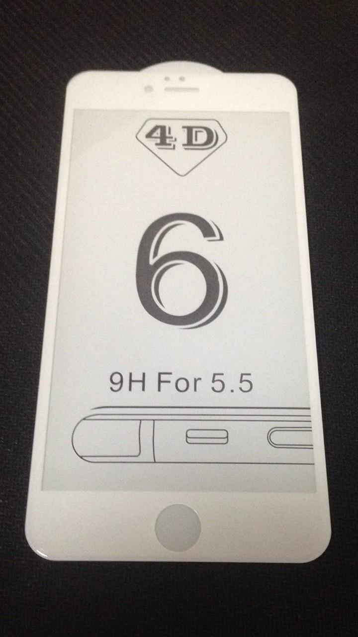 Защитное стекло iPhone 6+ 5D, цвет - white