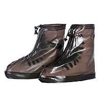 Резиновые бахилы на обувь от дождя Lesko SB-101 коричневый размер XL дождевик для обуви от грязи