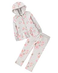 """Спортивний костюм OshKosh для дівчинки на флісі сірий """"Ніжні квіти"""""""